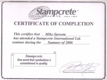 CERTIFICATE - STAMPCRETE COMPLETION 2006