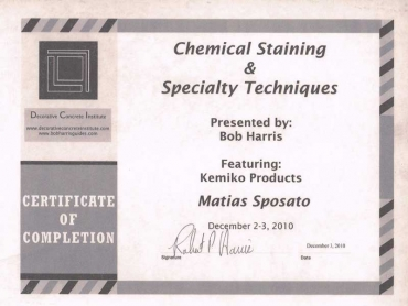 CERTIFICATE - DECORATIVE CONCRETE INSTITUTE COMPLETION 2010