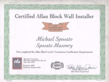 CERTIFICATE - CERTIFIED ALLAN BLOCK WALL INSTALLER