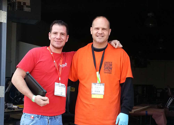Mike Sposato with Nathan Giffin at hand carved & staining stone class in Charlotte, North Carolina